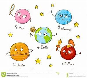 Set Of Cute Cartoon Planets Stock Vector - Image: 64027241