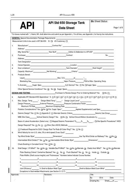 API 650 Tank Datasheet | Pipe (Fluid Conveyance) | Roof