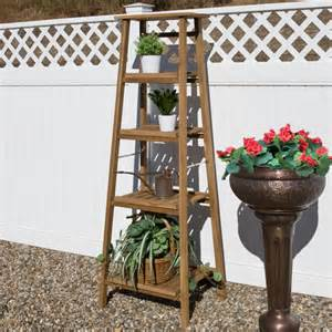 four tiered ladder style teak plant stand plant stands planters and windowboxes outdoor