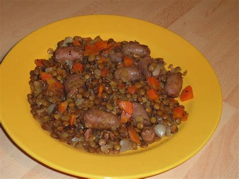 lentille cuisine chipolatas lentilles christian recette cuisine companion