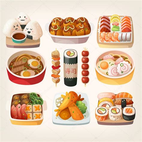 cuisine stickers japanese food stickers stock vector moonkin 114993998