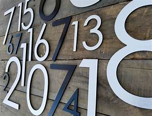 83939 modern house numbers brushed aluminum stud mounted With large house letters