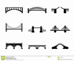 Set Of Black And White Bridge Icons Stock Illustration ...