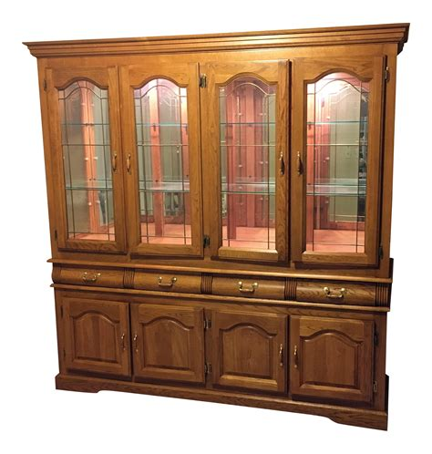 oak china cabinets for solid oak china cabinet chairish
