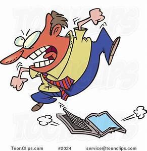 Frustrated Cartoon Business Man Trampling a Laptop ...