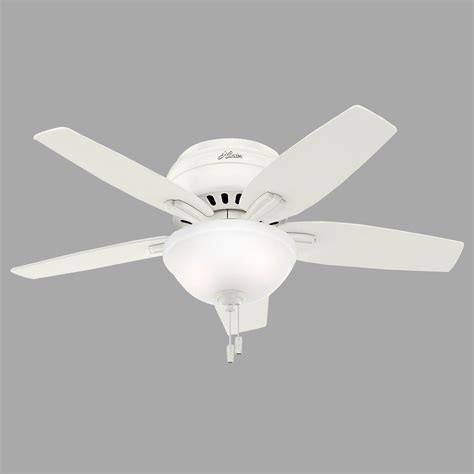 low profile white ceiling fan hunter newsome 42 in indoor low profile fresh white