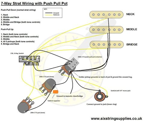 Push Pull Wiring Diagram by 7 Way Strat Wiring Diagram Using A Push Pull Switch