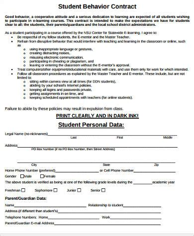 Student Contract Template by Sle Student Behavior Contract Forms 9 Free Documents