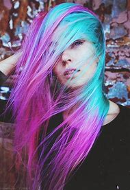 Pink Purple Turquoise Hair Color