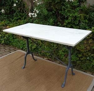Table Marbre Rectangulaire : table bistrot ancienne plateau en marbre et pieds en fonte ~ Teatrodelosmanantiales.com Idées de Décoration