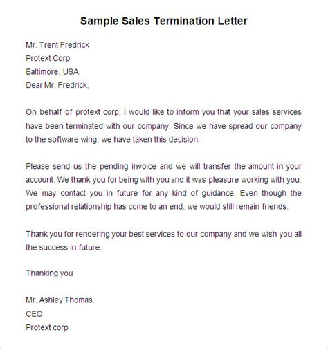sales rep termination letter free termination letter template 48 free sample