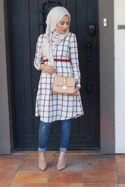 plaid sleeve knit top islamic styling ideas with tunic tops style