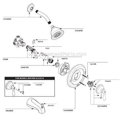 moen posi temp valve moen 82496brb parts list and diagram ereplacementparts com