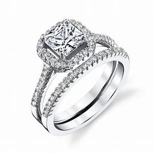 Sterling Silver Princess Cut CZ Engagement Wedding Ring