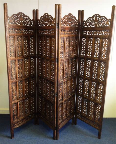 4 panel indian carved wooden screen room divider indian shutters and room dividers