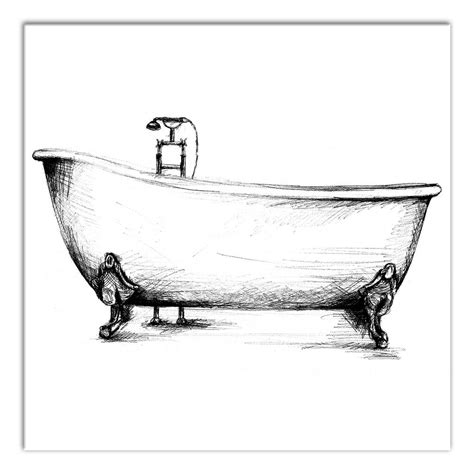 """Designs can range from tiny frames to oversize 3d sculptures, but you mix and match wall decorations for a custom look. DESIGNS DIRECT 12 in. x 12 in. """"Vintage Bathtub Sketch"""" Printed Canvas Wall Art-4115-AJ - The ..."""