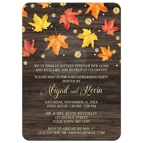 housewarming invitations falling leaves  gold autumn