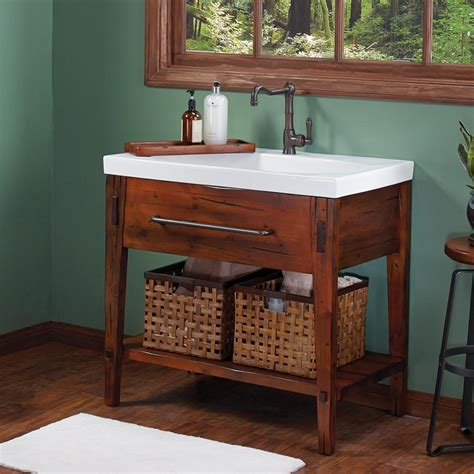recycled kitchen cabinets 36 quot portland bathroom vanity cabinet base in rustic pine 1759
