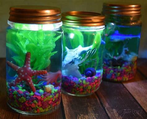 crafts with jars light up mason jar aquariums the tiptoe fairy