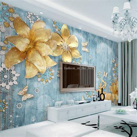 luxury golden flower wallpaper custom  wallpaper