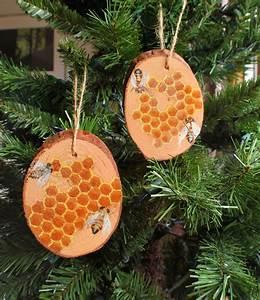 Hand, Painted, Honey, Bee, U0026, Homecomb, Wood, Slab, Ornament