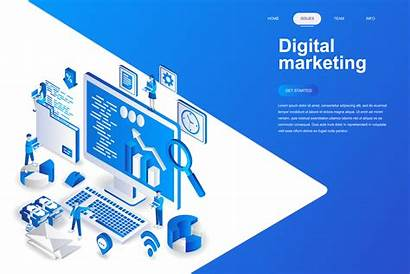 Marketing Digital Isometric Modern Illustration Concept Web