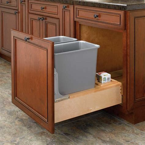 pull out trash cabinet double trash pullout 30 quart wood 4wcbm 2430dm 2 by
