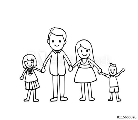 vector  hand draw happy family holding hands  smiling