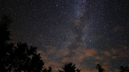 Sky Night Stars Nature Dark Wood Desktop