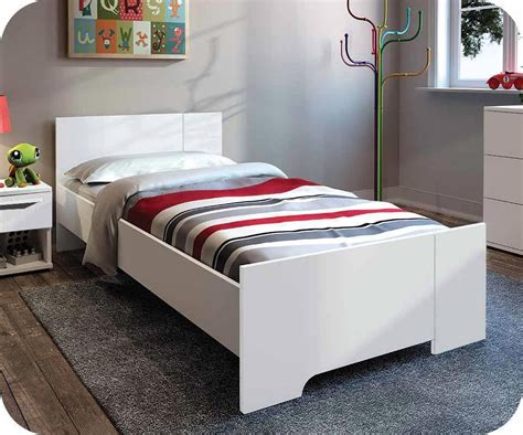 chambre lit blanc lit enfant jazz blanc 90x190 cm achat vente lit enfant