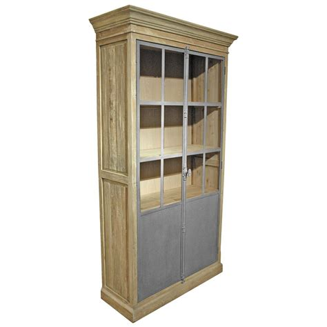Closed Bookcases by Chaucer Industrial Loft Limed Wood Metal Closed Bookcase