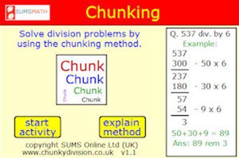 long division chunking method worksheets