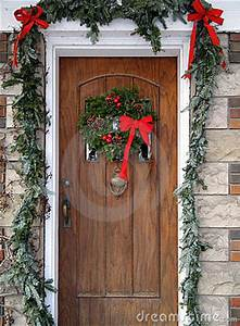Front Door With Christmas Decorations Stock Image