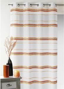 Kit Rayure Vitrage : voilage fantaisie tiss rayure horizontale terracota ~ Premium-room.com Idées de Décoration