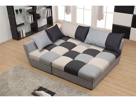 canapé angle convertible en tissu gris ou chocolat romane