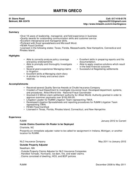 Auto Insurance Resume Exles by Martin Greco Resume 2 3 1