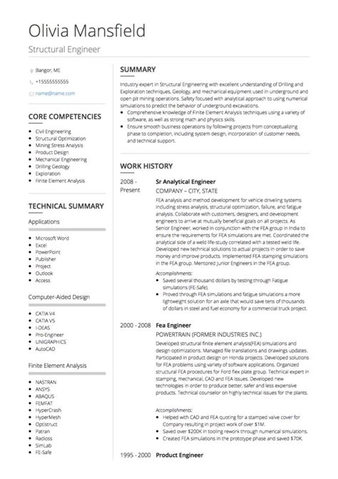 Graduate Civil Engineer Cv Exle by Civil Engineer Cv Exles And Template