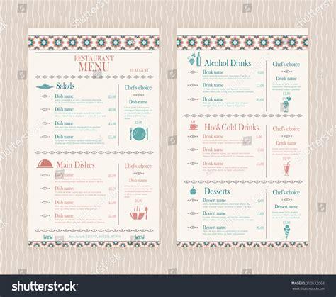 elegant simple restaurant cafe menu list stock vector
