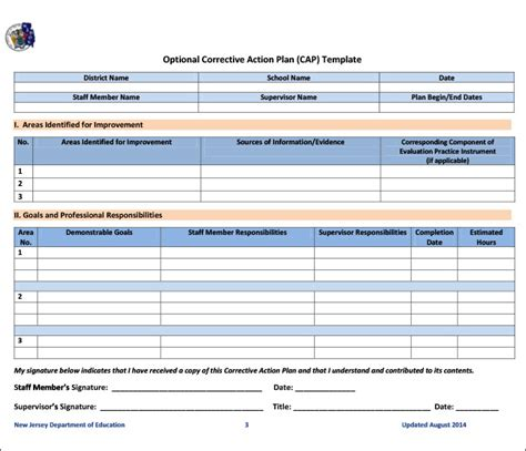 corrective action plan template   word excel