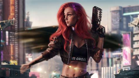 cyberpunk guns sci fi girl   wallpaper