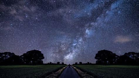Stars Milky Way Alone Road Field Landscape Wallpapers
