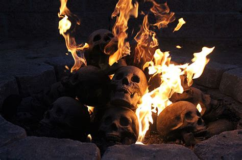 skull fire pit logs   perfect accessory