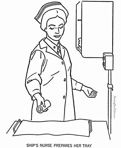 Nurse Coloring Pages Nurses Military Forces Armed