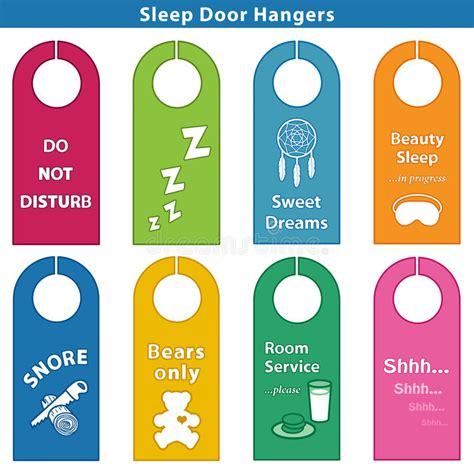 door hanger signs sleep bedroom door hanger signs brights stock vector