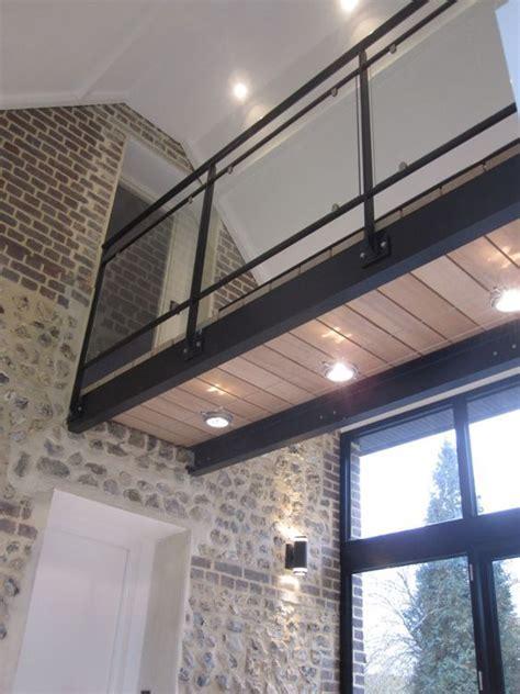 passerelle bois metal verre en  deco mezzanine