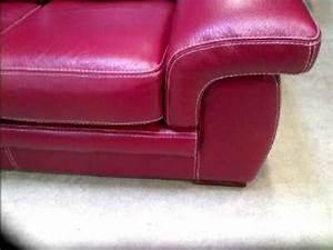 Canapé Cuir Rouge : photos canap 2 places cuir rouge ~ Teatrodelosmanantiales.com Idées de Décoration