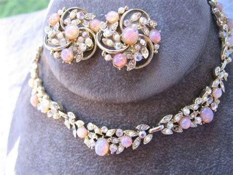 vintage lisner faux opal cabochon pearl ab rhinestone swag