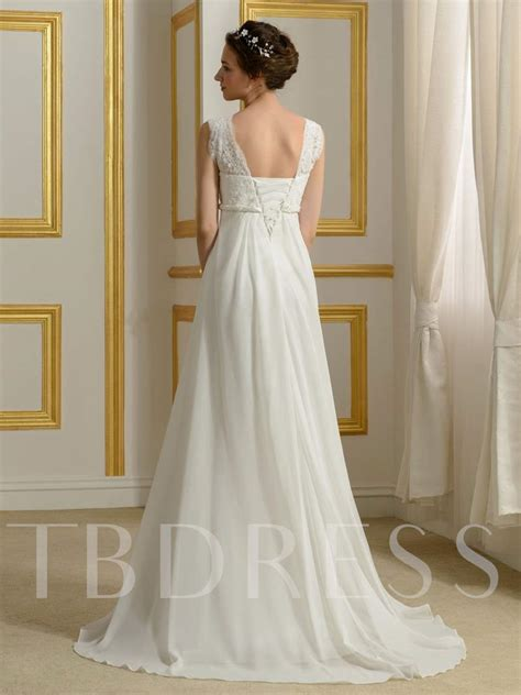 chiffon beading empire waist lace beach wedding dress