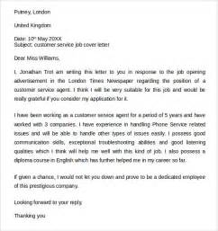 cover letter template word customer service sle customer service cover letter exle 7 free documents in pdf word
