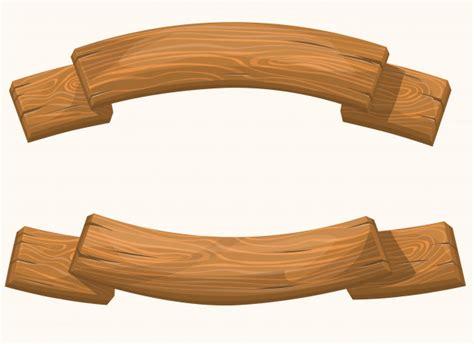 wood banner set vector premium